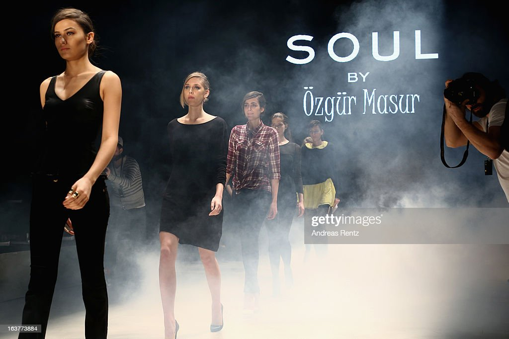 Models on the runway at rehearsals ahead of the Soul By Ozgur Masur show during Mercedes-Benz Fashion Week Istanbul Fall/Winter 2013/14 at Antrepo 3 on March 15, 2013 in Istanbul, Turkey.