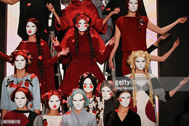 Models on the runway at the DIMANEU show during the MercedesBenz Fashion Week Russia Autumn/Winter 2015/16 at Manege on March 28 2015 in Moscow Russia