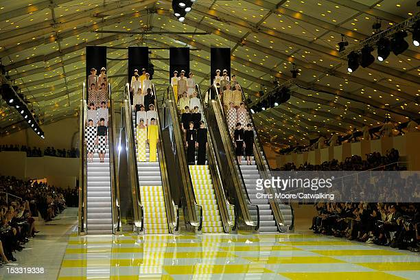 Models on the runway at the Louis Vuitton Spring Summer 2013 fashion show during Paris Fashion Week on October 3 2012 in Paris France