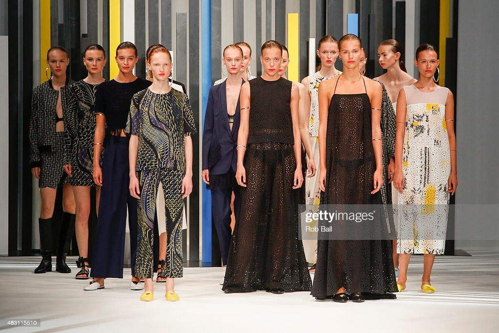 Models on the runway for designer Lala Berlin during the first day of Copenhagen Fashion Week Spring/Summer 2016 on August 5 2015 in Copenhagen...