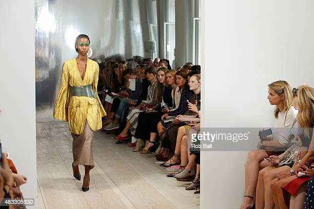 Models on the runway for designer Mark Kenly Domino Tan during the second day of Copenhagen Fashion Week Spring/Summer 2016 on August 6 2015 in...