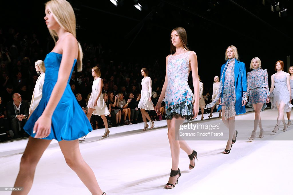 Models on the runway for the final of Nina Ricci show as part of the Paris Fashion Week Womenswear Spring/Summer 2014, held at Garden of Tuilleries on September 26, 2013 in Paris, France.