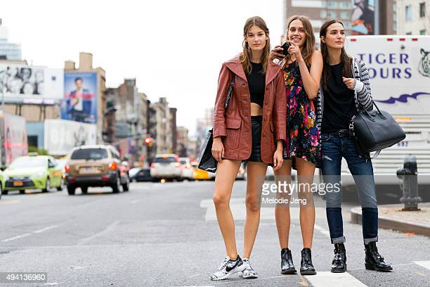Models Ophelie Guillermand Georgia Hilmer and Mijo Mihaljcic exit the Altuzarra show at Spring Studios on September 12 2015 in New York City Ophelie...