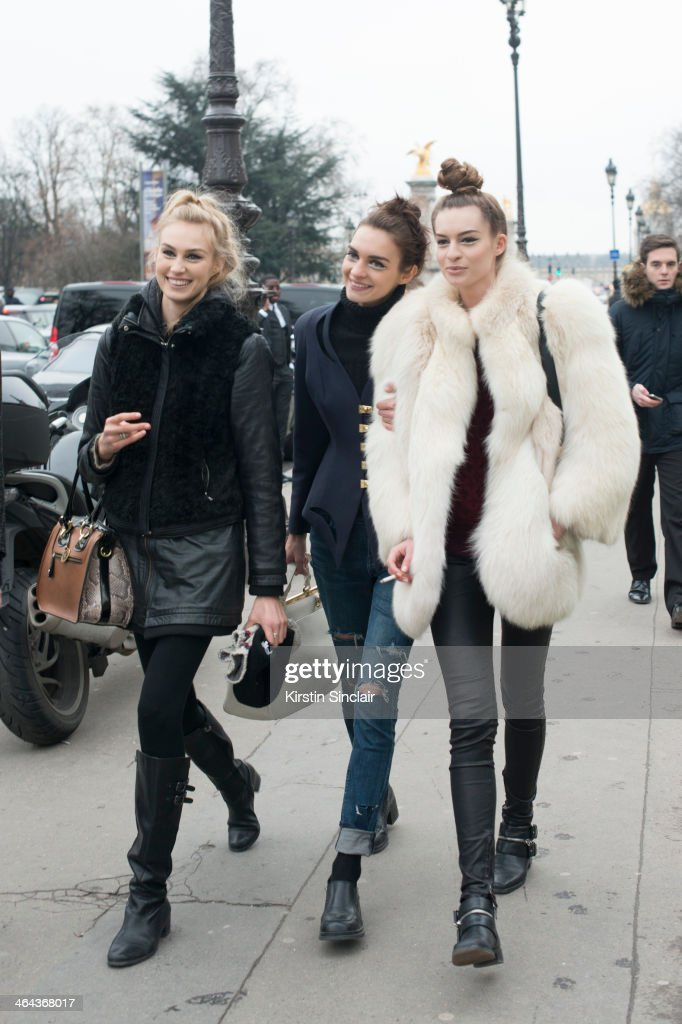 Models outside Chanel day 2 of Paris Haute Couture Fashion Week Spring/Summer 2014, on January 21, 2014 in Paris, France.