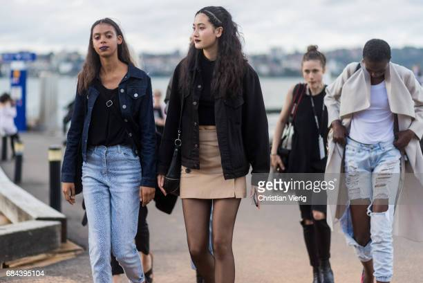 Models outside Dyspnea at day 5 during MercedesBenz Fashion Week Resort 18 Collections at Sydney Opera House on May 18 2017 in Sydney Australia