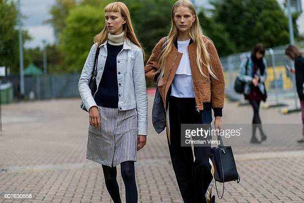 Models outside Mulberry during London Fashion Week Spring/Summer collections 2017 on September 18 2016 in London United Kingdom