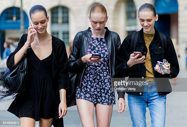 Models outside Schiaparelli during Paris Fashion Week Haute Couture F/W 2016/2017 on July 4 2016 in Paris France