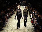 Models parade on the catwalk during the Tom Ford Autumn/Winter 2015 Womenswear Collection Presentation in Hollywood California on February 20 2015...