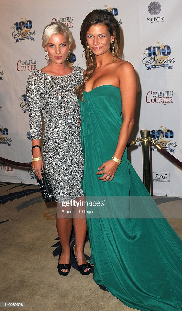 Models Patricia Baier and Rikke Goersson arrive for Norby Walters' 22nd Annual Night Of 100 Stars Oscar Viewing Gala held at The Beverly Hills Hotel on February 26, 2012 in Beverly Hills, California.