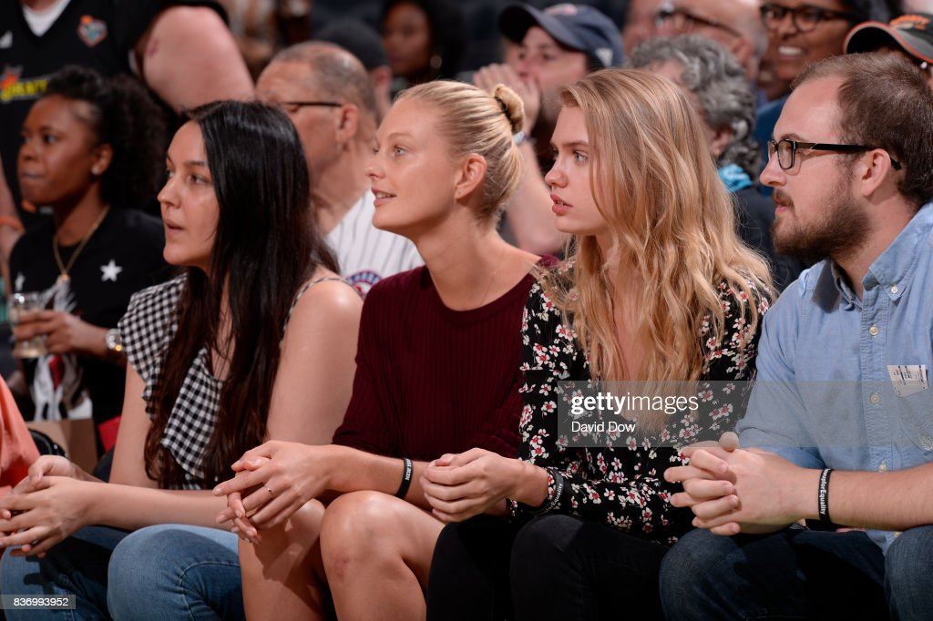 Models, Patricia Van Der Vliet and Chelsey Weimar attend the WNBA game between the Minnesota Lynx and the New York Liberty on August 20, 2017 at the Madison Square Garden in New York City, New York.