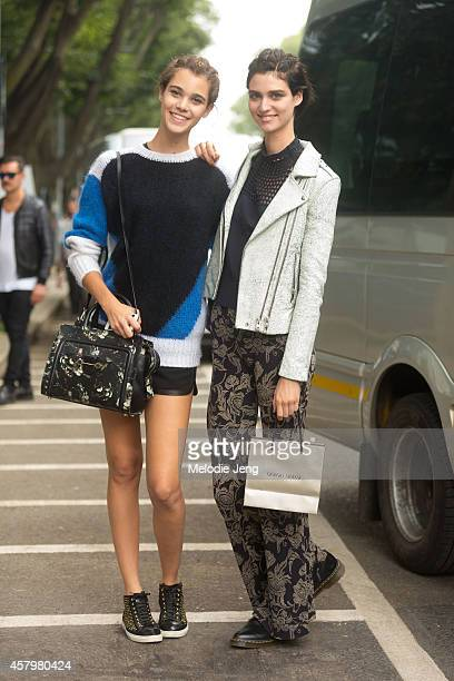 Models Pauline Hoarau and Manon Leloup exit the Giorgio Armani show on Day 4 of Milan Fashion Week Spring/Summer 2015 on September 20 2014 in Milan...
