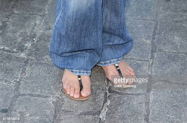 Models Pilar Lastra shoes detail attends One Step Closer Foundation's event at the VooDoo Zip Line at the Rio Hotel Casino as part of the...