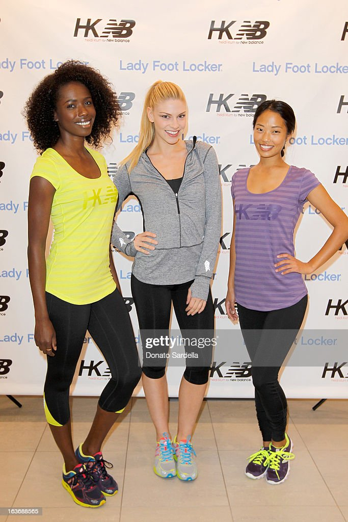 Models Porsche Thomas, Sarah Otey and Jennifer An attend the launch of the new Heidi Klum for New Balance Collection at Lady Foot Locker on March 14, 2013 in Culver City, California.
