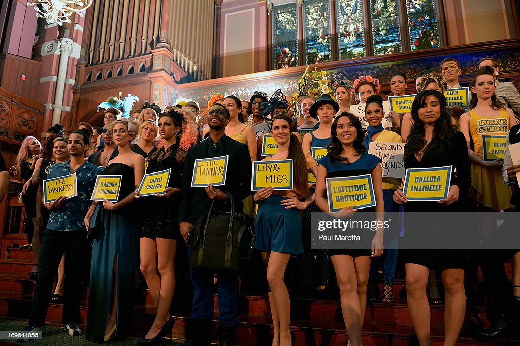 Models pose after 'Fashion Is Our Sanctuary' Benefit For The One Fund at Old South Church on May 29, 2013 in Boston, Massachusetts.