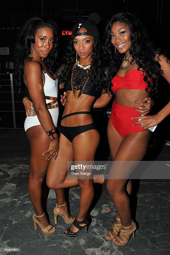 Models pose at BET's Rip The Runway 2013:Backstage Hammerstein Ballroom on February 27, 2013 in New York City.