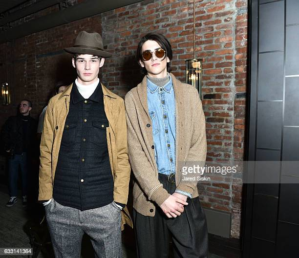 Models pose at Billy Reid Backstage NYFW Men's at The Cellar at The Beekman on January 30 2017 in New York City