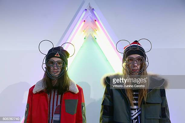 Models pose at Iceberg Presentation on January 16 2016 in Milan Italy