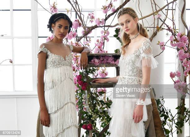 Models pose at Marchesa's Notte Bridal Presentation during New York Fashion Week Bridal April 2017 at Canoe Studios on April 20 2017 in New York City