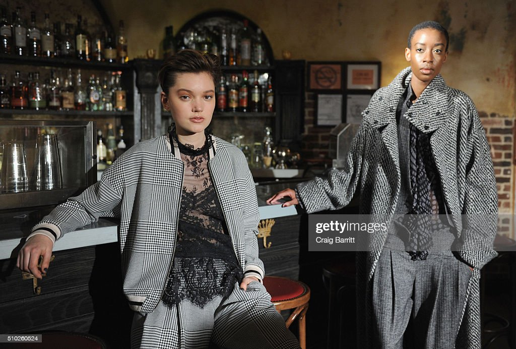 Models pose at Mary Kay at Tracy Reese F/W '16- Presentation during New York Fashion Week at Roxy Hotel on February 14, 2016 in New York City.