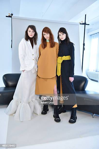 Models pose at Organic by John Patrick presentation at the Refinery Hotel during New York Fashion week on February 11 2015 in New York City