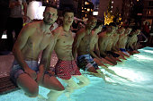 Models pose at Orlebar Brown presents the Spring/Summer 2017 Collection in partnership with Bold New York and Lifetime Athletic At Sky on July 13...