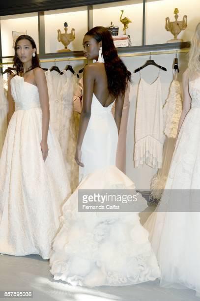Models pose at Sachin Babi Presentation at New York Fashion Week Bridal October 2017 on October 4 2017 in New York City