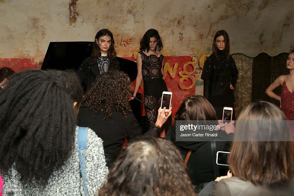 Models pose at SheaMoisture at Tracy Reese F/W 2016 NYFW at Roxy Hotel on February 14, 2016 in New York City.