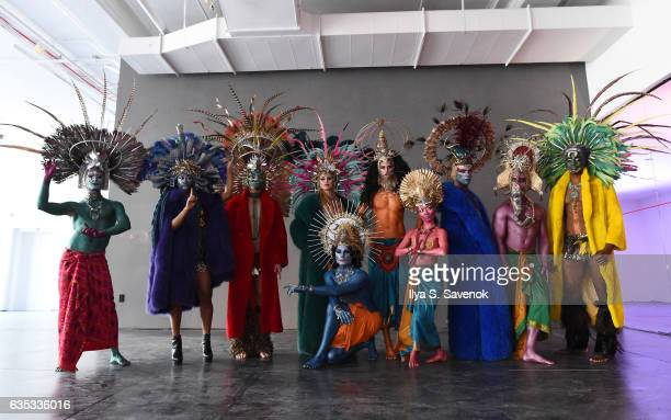 Models pose at the Adrienne Landau presentation during New York Fashion Week on February 14 2017 in New York City