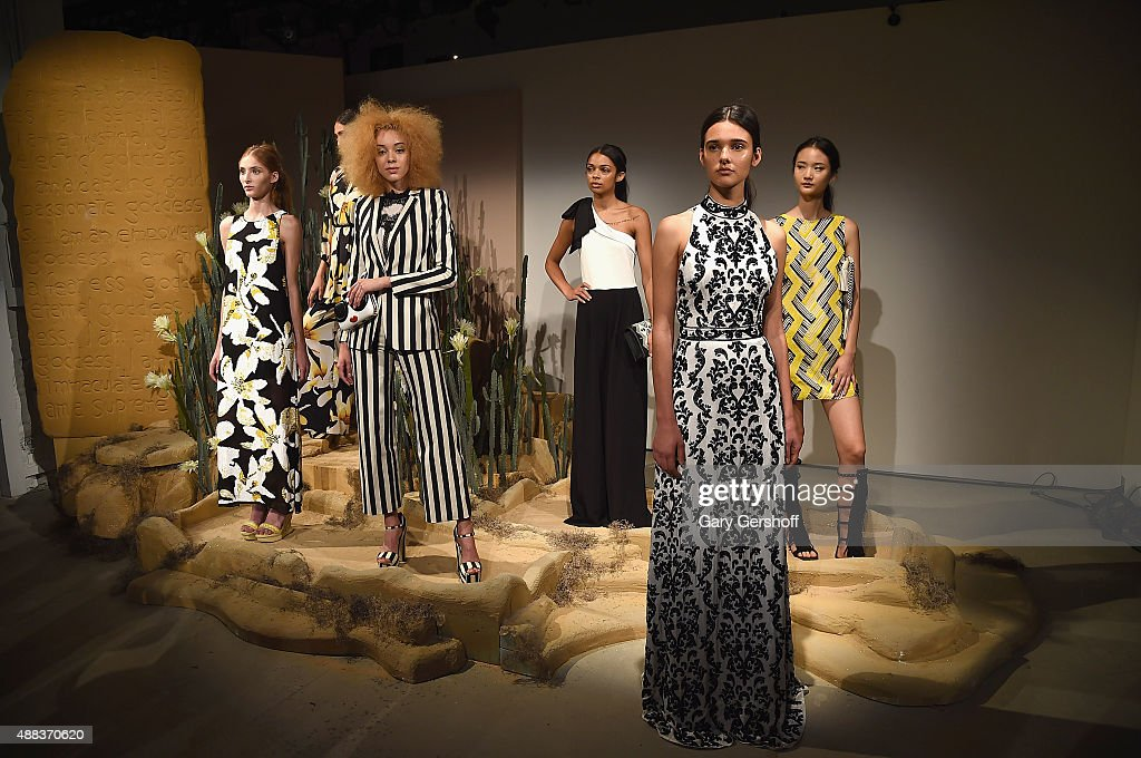 Models pose at the Alice + Olivia By Stacey Bendet presentation at The Gallery, Skylight at Clarkson Sq on September 15, 2015 in New York City.