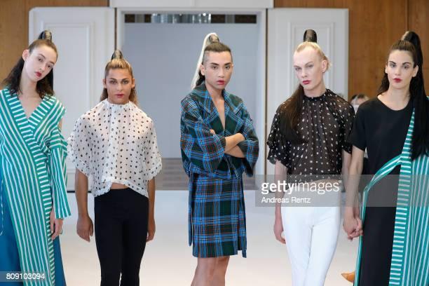 Models pose at the Antonia Goy Defile during 'Der Berliner Mode Salon' Spring/Summer 2018 at Kronprinzenpalais on July 5 2017 in Berlin Germany