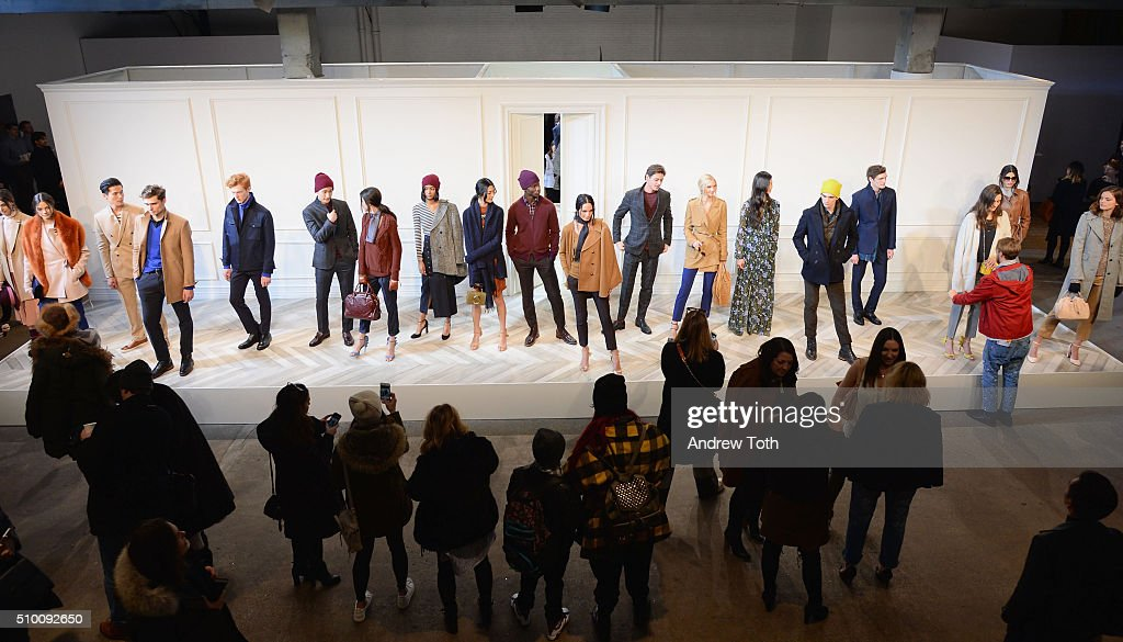 Models pose at the Banana Republic Fall 2016 fashion show at Highline Stages on February 13, 2016 in New York City.