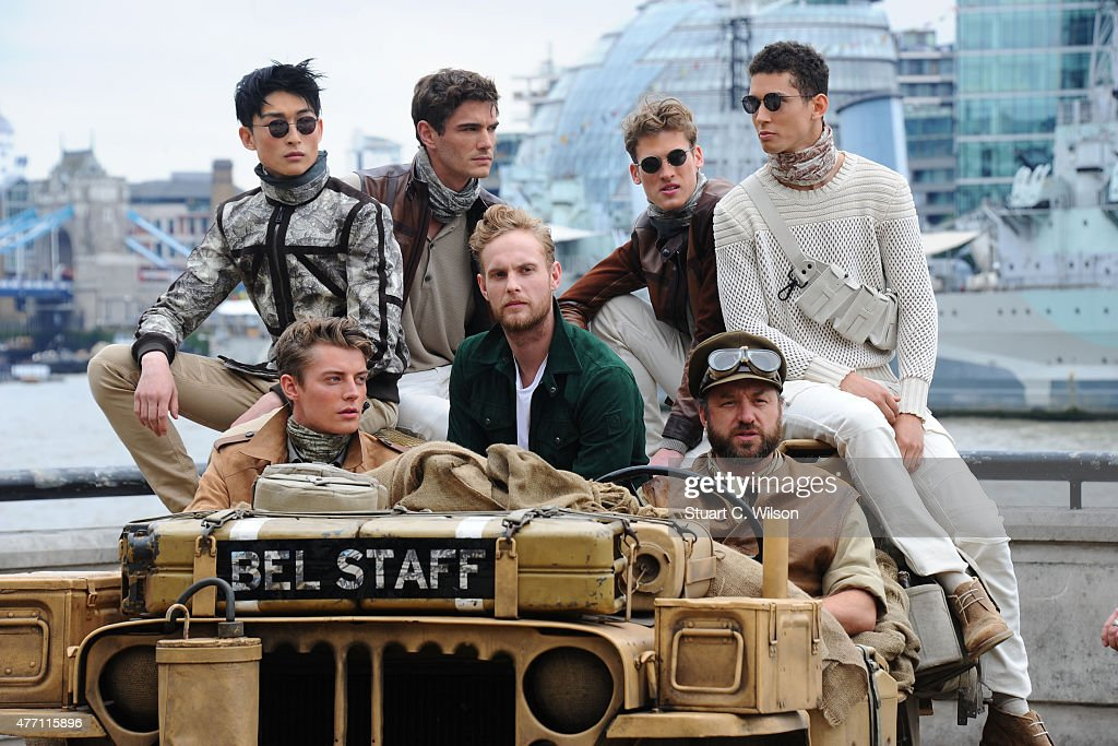 Models pose at the Belstaff presentation during The London Collections Men SS16 on June 14 2015 in London England