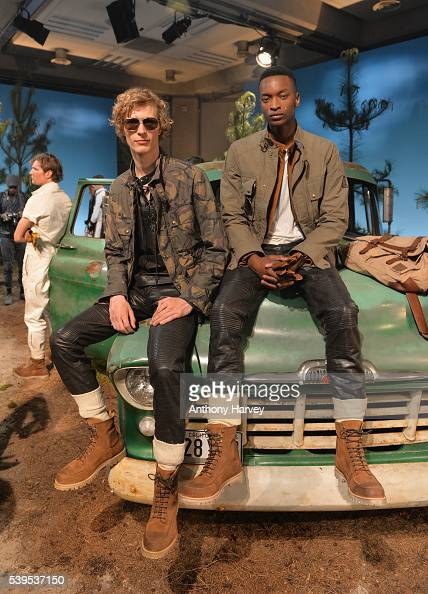 Models pose at the Belstaff presentation during The London Collections Men SS17 on June 12 2016 in London England