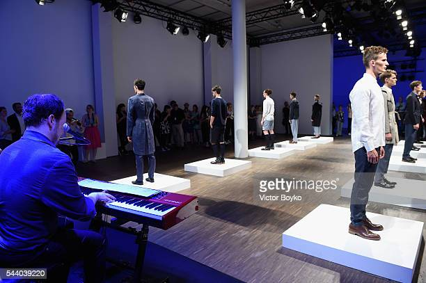Models pose at the Brachmann show during the MercedesBenz Fashion Week Berlin Spring/Summer 2017 at Stage at me Collectors Room on July 1 2016 in...