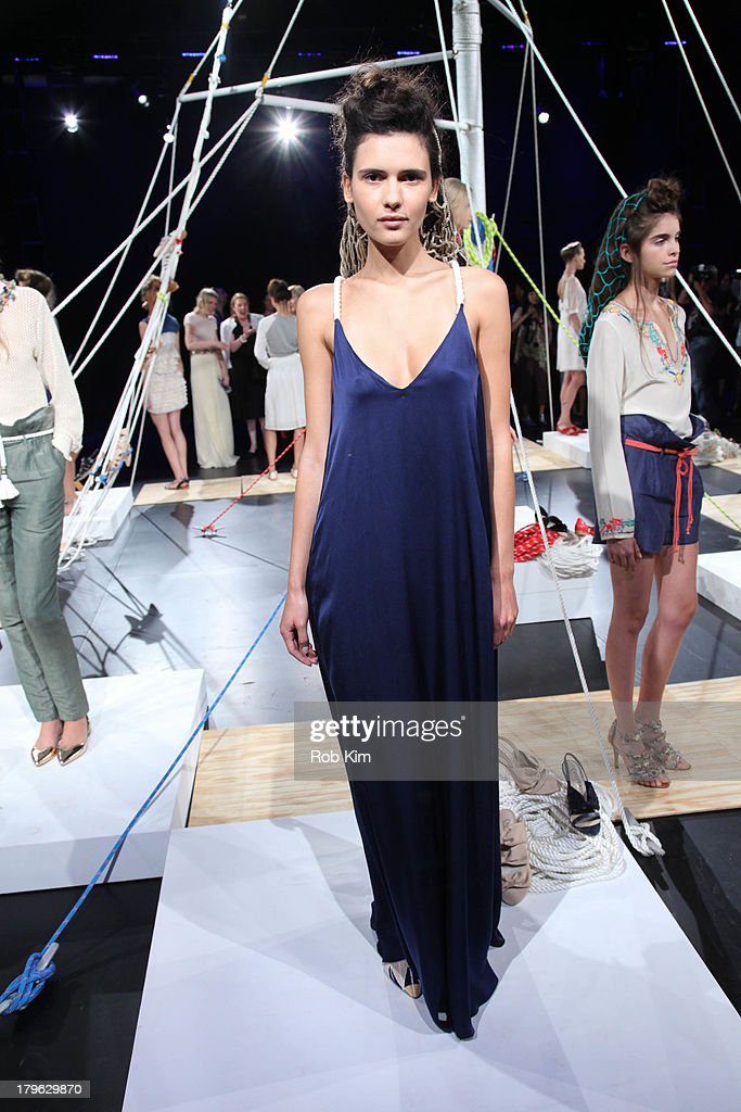 Models pose at the Candela presentation during Spring 2014 Mercedes-Benz Fashion Week at The Box at Lincoln Center on September 5, 2013 in New York City.