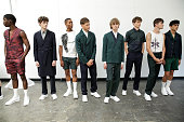 Models pose at the Carlos Campos Spring/Summer 2016 Presentation during New York Fashion Week Men's S/S 2016 at Industria Superstudio on July 13 2015...