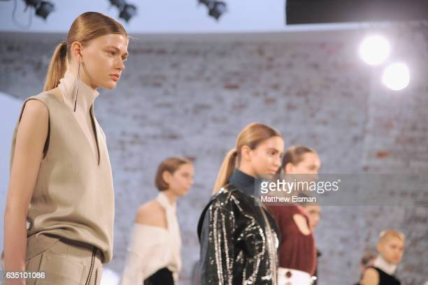 Models pose at the Christopher Esber presentation on February 13 2017 in New York City