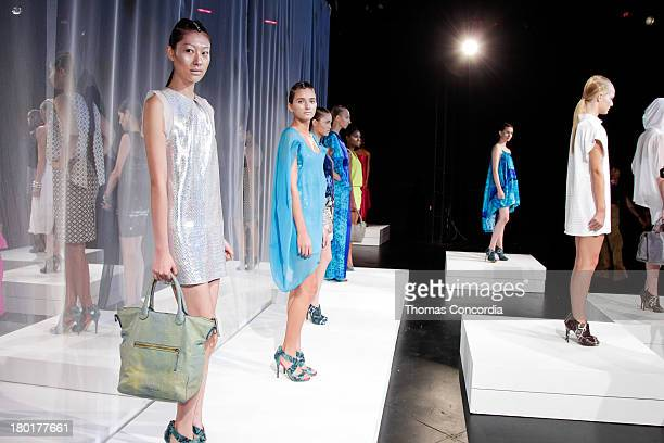 Models pose at the CZAR by Cesar Galindo Spring 2014 Presentation during MercedesBenz Fashion Week at The Box in Lincoln Center in New York City on...