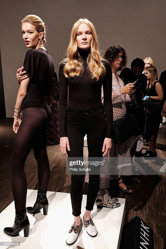 Models pose at the Dime-Mexico Fashion Design show during the Mercedes-Benz Fashion Week Berlin Spring/Summer 2017 at Stage at me Collectors Room on June 29, 2016 in Berlin, Germany.