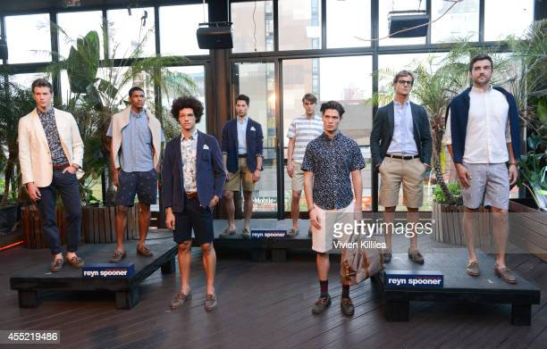 Models pose at the Flux Hawaii Presentation during MercedesBenz Fashion Week Spring 2015 at The DL Rooftop on September 10 2014 in New York City