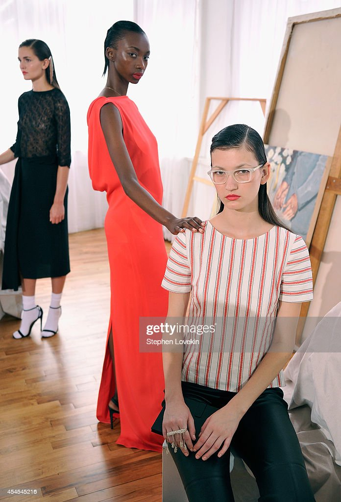 Models pose at the Hellessy By Sylvie Millstein presentation during Mercedes-Benz Fashion Week Spring 2015 at Home Studios on September 3, 2014 in New York City.