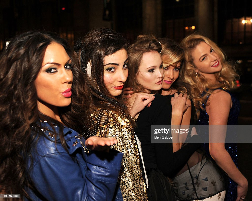Models pose at the Indashio fall 2013 fashion show during Mercedes-Benz Fashion Week> at Grand Central Station on February 13, 2013 in New York City.