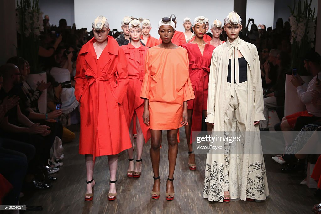 Models pose at the I'Vr Isabel Vollrath show during the Mercedes-Benz Fashion Week Berlin Spring/Summer 2017 at Stage at me Collectors Room on June 29, 2016 in Berlin, Germany.