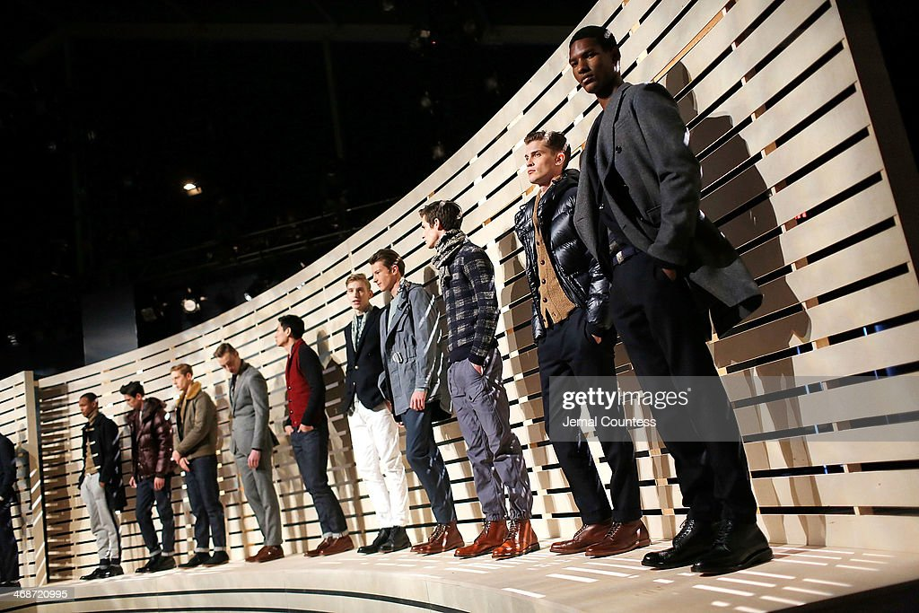 Models pose at the J.Crew presentation during Mercedes-Benz Fashion Week Fall 2014 at The Pavilion at Lincoln Center on February 11, 2014 in New York City
