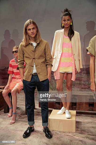 Models pose at the JCrew Presentation during Spring 2016 New York Fashion Week The Showsat The Gallery Skylight at Clarkson Sq on September 16 2015...
