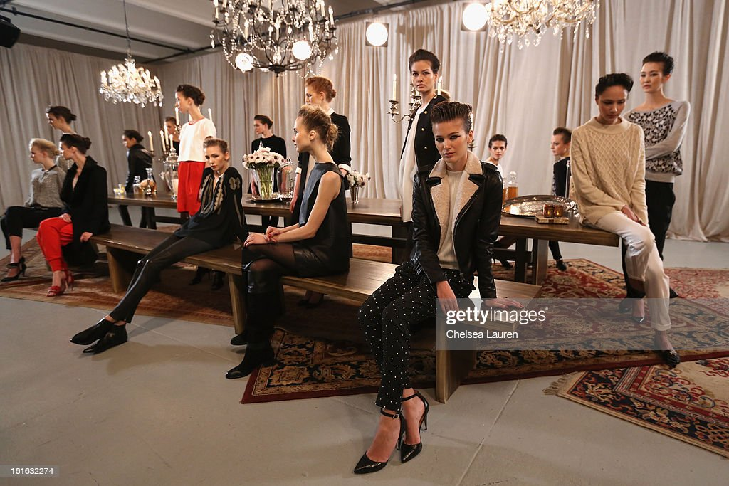 Models pose at the Joie Fall 2013 fashion show presentation during Mercedes-Benz Fashion Week at Center 548 on February 13, 2013 in New York City.