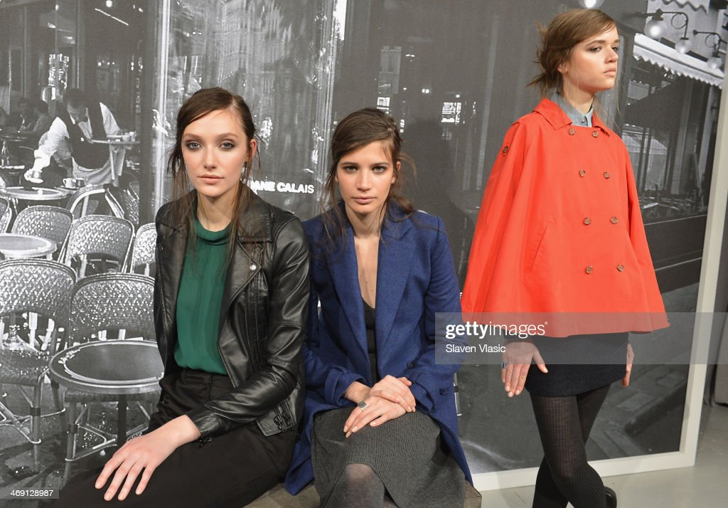 Models pose at the Joie presentation during Mercedes-Benz Fashion Week Fall 2014 at Center 548 on February 12, 2014 in New York City.