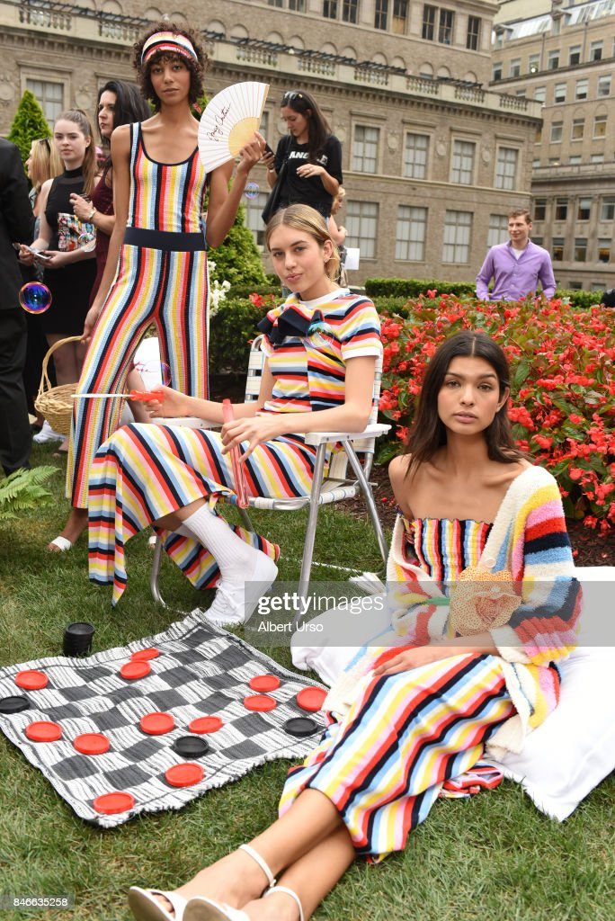 Models pose at the Juicy Couture presentation during New York Fashion Week at 620 Loft & Garden on September 13, 2017 in New York City.