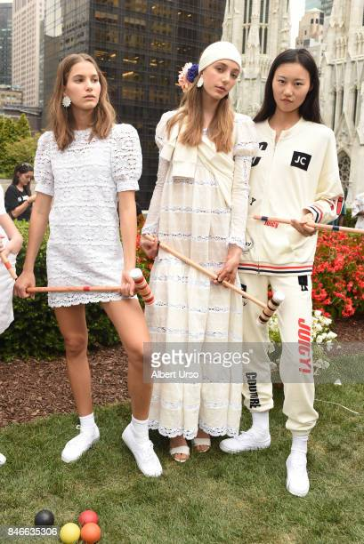 Models pose at the Juicy Couture presentation during New York Fashion Week at 620 Loft Garden on September 13 2017 in New York City