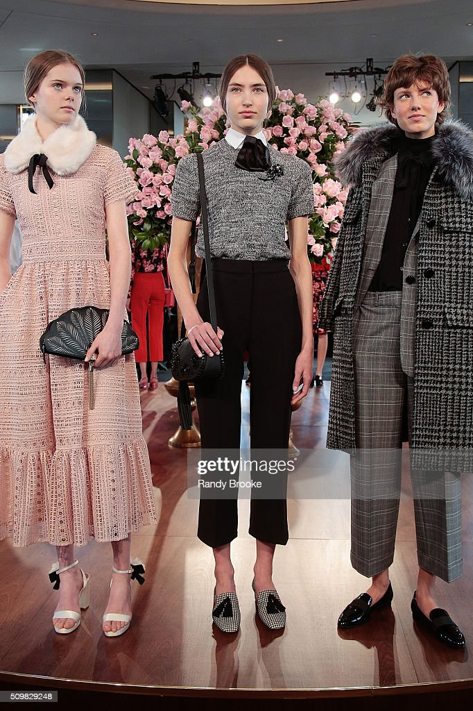 Models pose at the Kate Spade New York Presentation of Fall 2016 during New York Fashion Week at The Rainbow Room on February 12, 2016 in New York City.